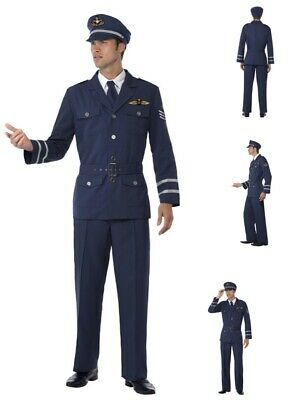 Mens Adult WW2 1940's Army RAF Air Force Male Captain Costume Military Party Fun • 26.99£