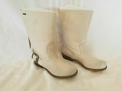 $30.98 • Buy MTNG Bill Hielo Off White Leather Mid-calf Boots ~ Size 38/US 7-7.5 ~  Brand New