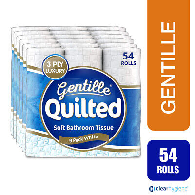 Gentille Quilted Luxury 3Ply White Toilet Tissue Paper - 54 Rolls • 16.99£