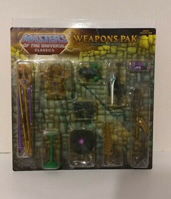 $39 • Buy MOTUC MASTERS OF THE UNIVERSE CLASSICS Weapons Pack Great Wars Assortment Opened