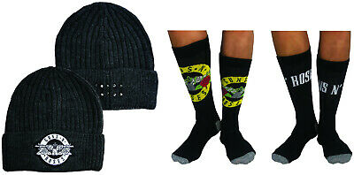 $20.79 • Buy Mens Guns N Roses Beanie Hat And 2 Pack Sock Gift Set Fathers Day Christmas Deal