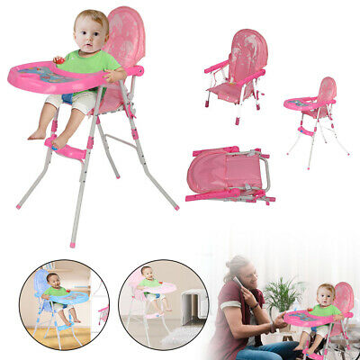 Non-Slip Type Baby Feeding High Chair Seat Foldable Children Infant Blue Pink • 23.99£