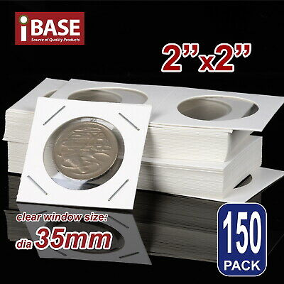 AU8.99 • Buy 150x Staple Coin Holder 2 X2  Display Clear Window Storage Protect Cent 35mm