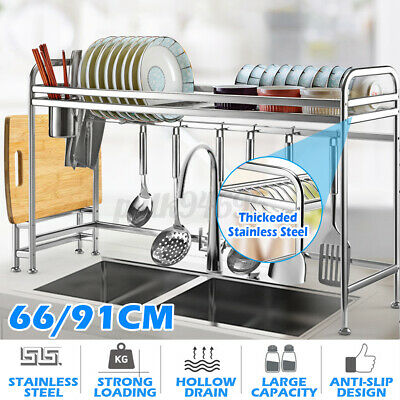 AU56.99 • Buy New Dish Drying Rack Organizer Home Kitchen Draining Over Sink Stainless Steel