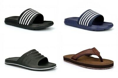 Mens Summer Sandals Mens Flip Flops Mens Mules Toe Post Leather Effect Size • 13.99£