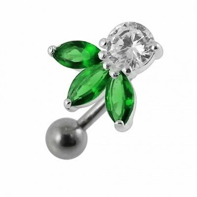 Silver Reverse Belly Bar Green Jewelled Petals Inverted Top Drop Navel Ring • 8.95£