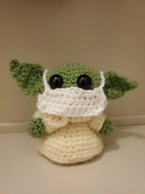 $20 • Buy Quarantine Cutie Baby Yoda Small Crochet Plush Doll 5  With Removable Face Mask