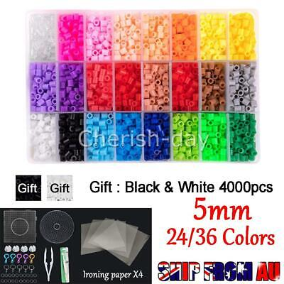 AU28.95 • Buy 5mm For Perler/Hama Beads Kit Kids Fun DIY Craft 24/36 Colours Set Gift Toys AU