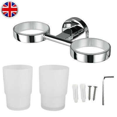 Wall Mounted Double Tumbler Cup Chrome Toothbrush Holder Used For Bathroom • 9.30£