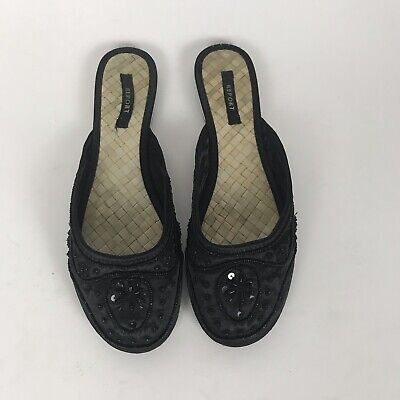 $19.99 • Buy Report Womens Morocco Black Slip On Sequin Flats Basket Weave Footbed Size 10