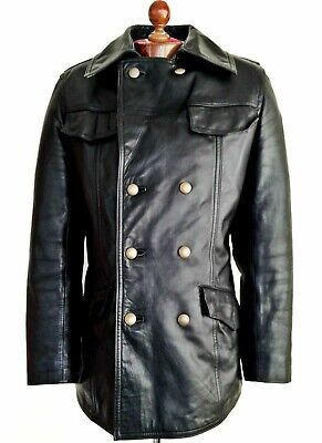Vtg Leather GERMAN LUFTWAFFE POLICE Motorcycle Biker Jacket Trench Pea Coat WW2 • 16£