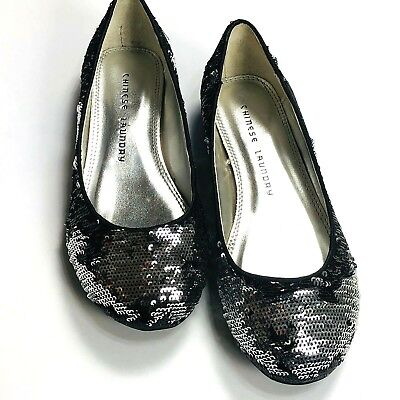 $19.94 • Buy Chinese Laundry Good Times Womens Shoes Black Silver Sequin Flats Size 5.5 M
