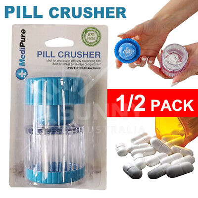 AU12.95 • Buy Portable Pill Pulverizer Tablet Grinder Medicine Cutter Crusher Storage Compartm