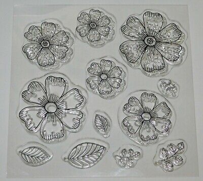 Open Flower & Leaves Clear Stamp Set - BNIP - Free P & P • 3.99£