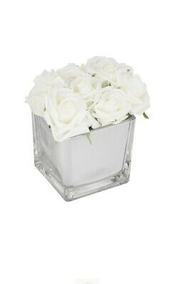 White Roses In Mirror Cube Artificial Plant (Home Decor) • 17£