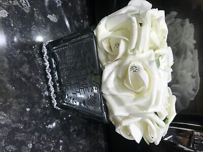 White Roses In Mirror Cube Artificial Plant (Home Decor) Home Sweet Home • 25£