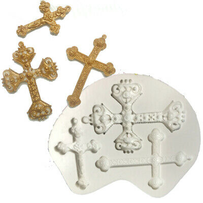 £3.59 • Buy Cross Silicone Fondant Mould Cake Decoration Baking Topper Mold Chocolate Tool