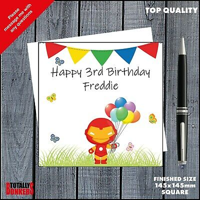 Iron Man Birthday Card - Personalised  - Superhero - Any Name, Age, Relative • 3.49£