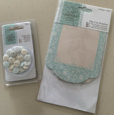 £3 • Buy Docrafts Papermania Eau De Nil Die Cut Notelets And Polka Dot Buttons