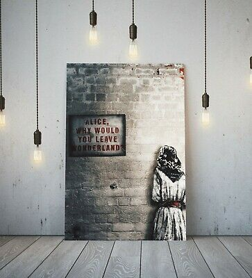 Banksy Alice Out Of Wonderland -deep Framed Canvas Wall Art Graffiti Print- Red • 11.99£