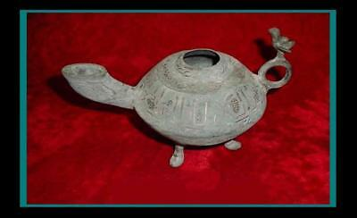 $1200 • Buy Large ANCIENT INDO PERSIAN / Islamic Inlaid Bronze OIL LAMP W/ Falcon On Handle