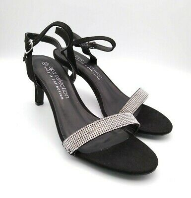 BPC Size 4,  6.5  BLACK & SILVER Diamond Sparkle Stiletto ANKLE STRAP Heel SHOES • 19.99£