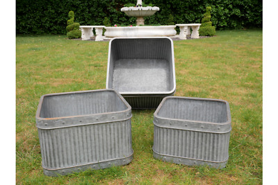 S/3 Metal Tub Planters Galvanised Flower Planters Flower Pots Box Rusty Finish • 99.99£
