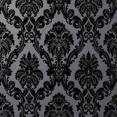 Exclusive Casablanca Velvet Flock Black/Grey Damask Wallpaper (11001) • 29.99£