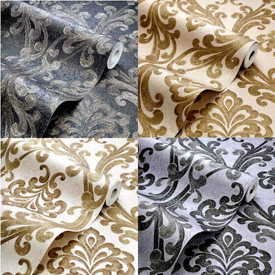 Gold Black Silver Damask Wallpaper Luxury Metallic SPARKLE PLATINUM By EXCLUSIVE • 7.99£