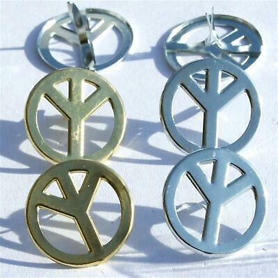 $0.99 • Buy 4 PEACE SIGN BRADS 2 Color Scrapbooking Groovy Retro Symbol Card Making Stamping