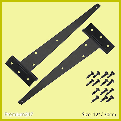 £6.79 • Buy PAIR Of 12  Inch/30cm Strong Tee Hinges Black Heavy Duty Gate Shed With Fittings