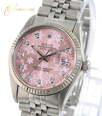 $ CDN5427.61 • Buy  Rolex Men's Datejust  Steel Pink Flower Diamond Dial Fluted Bezel  36mm Watch