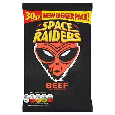 Space Raiders Beef Flavour Cosmic Corn Snacks 25g Case Of 36 • 14.99£