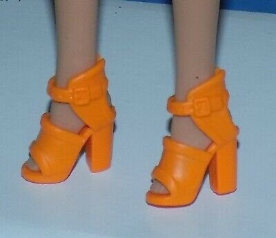 $5 • Buy Barbie Doll Orange Sandals High Heel Shoes Fit Fashionista Petite Curvy My Scene