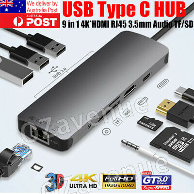 AU44.99 • Buy 9in 1 USB-C HUB Type-C USB Multi 3.0 4K HDMI RJ45 Ethernet Micro SD TF OTG