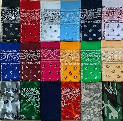 $6.99 • Buy 3 Pc Set Bandana Face Mask Headwear Scarf Multi-Use Protection  100% Cotton