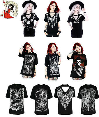 Restyle T-Shirt Tees Alternative Top Witch Wicca Goth Black Moon Bat Tshirt • 16.99£