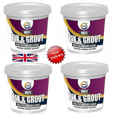 White Fix & Grout Ready Mixed Waterproof Wall Tile Adhesive High Strengh-500ML • 6.49£