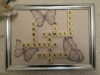 Scrabble Family Name Picture Frames - Personalised - Various Backgrounds • 9.99£