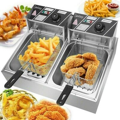 $17.80 • Buy 5000W 12L Electric Deep Fryer Dual Tank Commercial Restaurant Stainless Steel