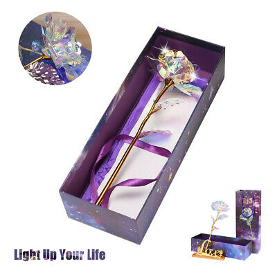 Creative Galaxy Rose Flower Mother's Day Romantic Crystal Rose Without Box Gift • 4.69£
