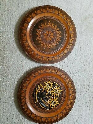 $40 • Buy Two Vintage Hand Carved 12  Wooden Chargers. Signed