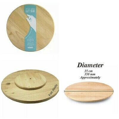 £12.97 • Buy Lazy Susan Suzie Rotating Round Wooden Tray Serving Plate Solid Rubber Wood 35cm