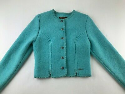 $30 • Buy GEIGER Austria 38 US Small S Teal Green Royal Blazer Jacket Wool LS Buttons R2