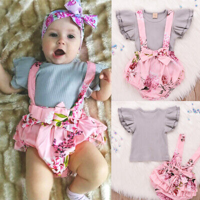 Newborn Baby Girls Clothes Ruffle Tops Romper Jumpsuit Tutu Pants Outfits Sets • 7.20£