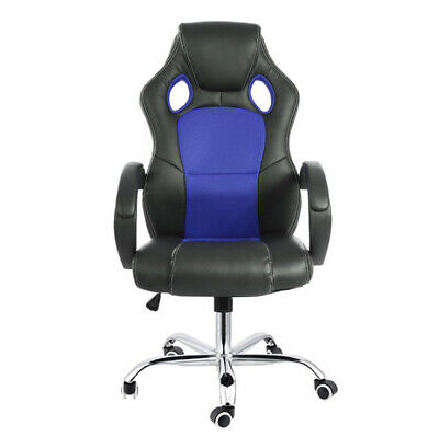 AU129 • Buy Racing Office Chair Seat Executive Computer Gaming Deluxe Pu Leather Black Blue