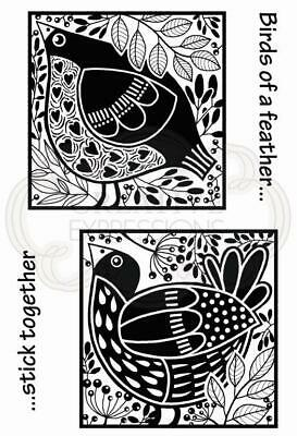 Woodware Lino Cut - Bird Blocks Clear Stamp Set By Jane Gill JGS701 • 6£