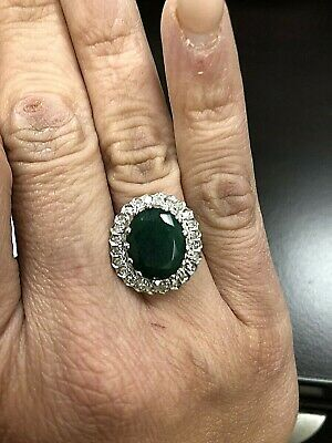 $339.99 • Buy 14K White Gold 7 Ct Tw Zambia Emerald Natural Diamond Cocktail Ring