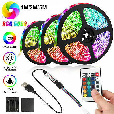 $14.97 • Buy Battery Powered 5050 SMD Tape RGB LED Strip Light Flexible Waterproof 1/2/3/4/5M