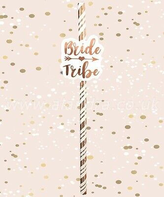 £2.48 • Buy 6 X Cream & Rose Gold Metallic Card Straws Bride Tribe Bride To Be Hen Party